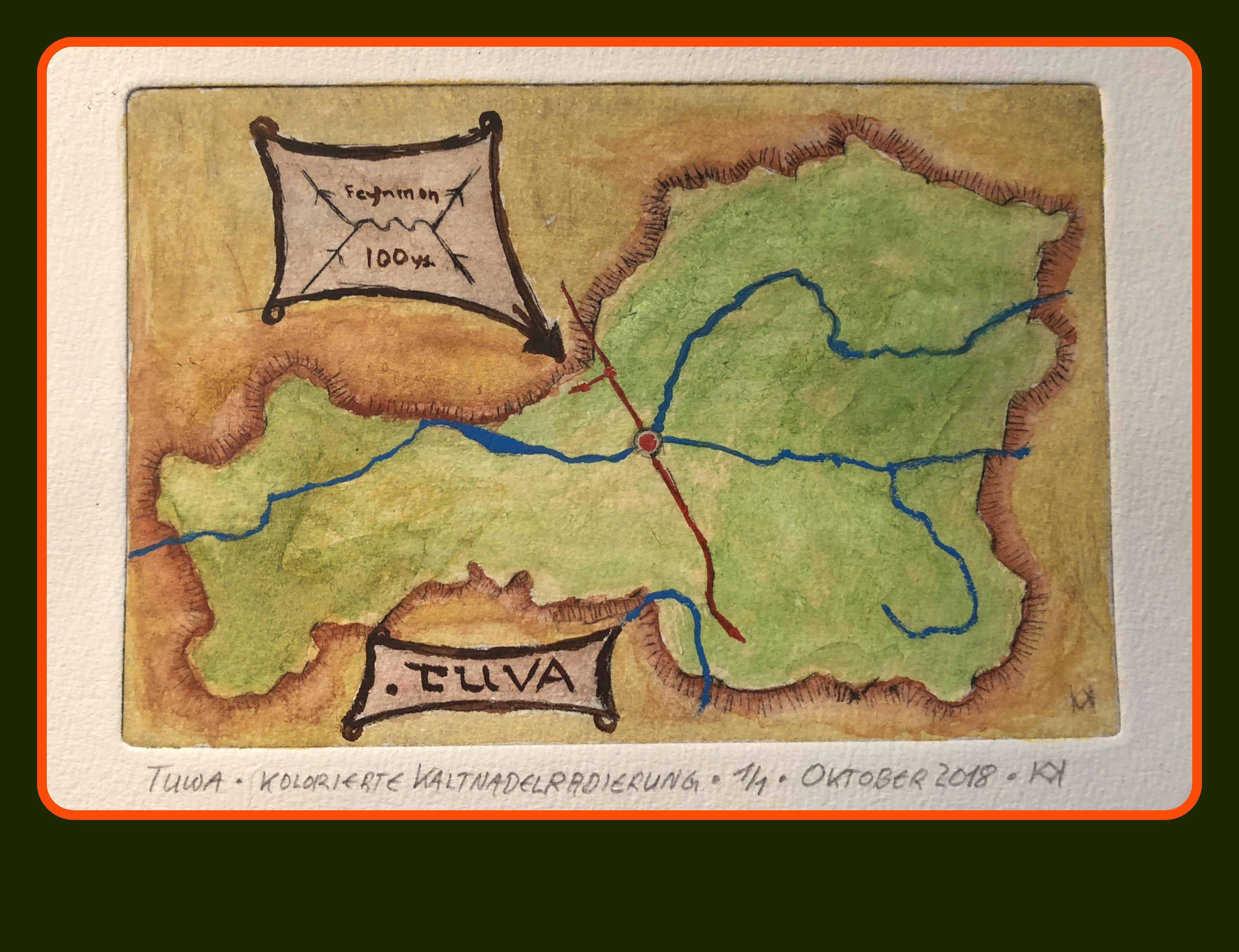 Kolorierte Kaltnadelradierung - Landkarte Tannu Tuwa. © Kl. Kurre